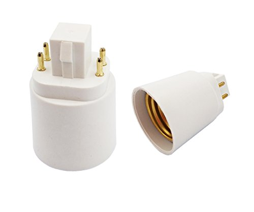 60-Pack GX24q to E26 Lamp Base Converter,GX24q-3 Adapter,G24 to E26 Adapter, 15.5mm 4pin,Need Bypass The Inside Ballast!