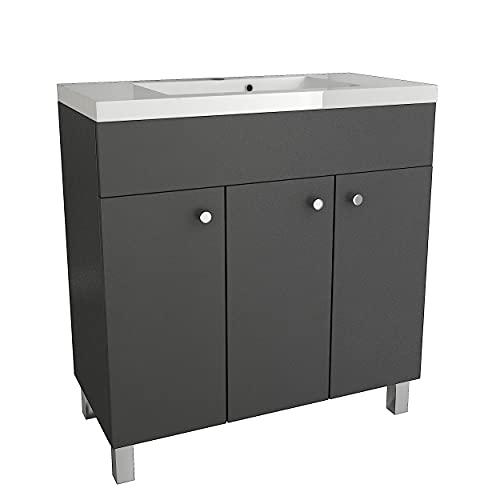 Lavabo con armario inferior IGA, armario de lavabo de pie, cuadrado, cerámica, mueble de baño (grafito, 80 cm)