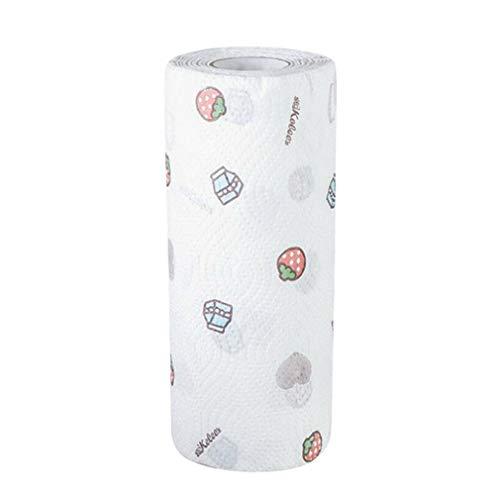 SZYZ Paño para Lavar Platos de Cocina seco y húmedo Patrón de Fresa de Limpieza del hogar Engrosado 50 Piezas
