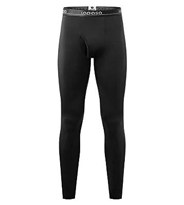 "LAPASA Men's Thermal Underwear Pants Fleece Lined Long Johns Leggings Base Layer Bottoms 1 Pack M10 (M Waist 32""-34"" Length 37.4"", Lightweight Black 1 Pack)"