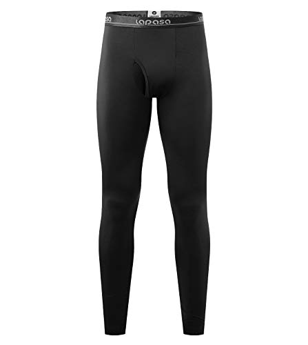LAPASA Men's Thermal Underwear Pants Fleece Lined Long Johns Leggings Base Layer Bottoms 2 Pack M56 (L Waist 36'-38' Length 38.6', Midweight Black)