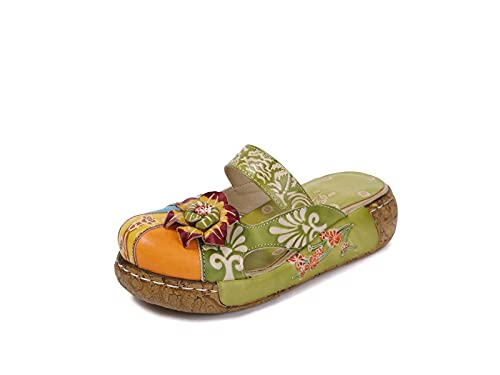 IRON JF Sandalias para Mujer Sandalias de Cuero Slip-on Soft Womens Ladies Mule Blogs Zapatillas Baotou Baotou Vintage Plateforme Fleurs Cómodo Jardín Zapatos Zapatos (Color : B Green, Size : 38)