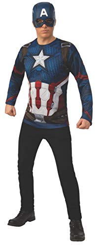 Rubie's Adult Costume Top and Mask Marvel Avengers: Endgame Captain America Top Mask Adult Sized Costumes, As Shown, Standard US