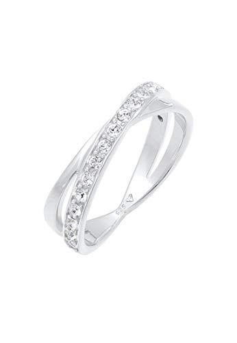 Elli Ring Damen Wickelring Elegant mit Swarovski® Kristalle in 925 Sterling Silber