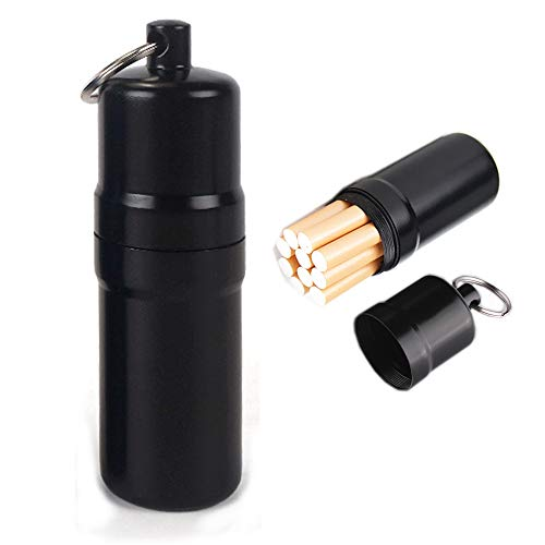 NGEシガレットケース 10本 携帯灰皿 おしゃれ 防水 キーホルダー 合金 アウトドア 耐湿防圧 (黒)