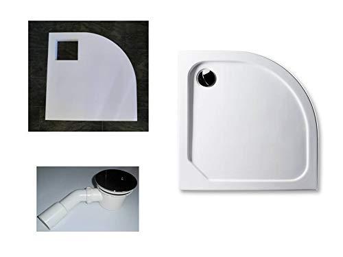 KOMPLETT-PAKET: Duschwanne 90 x 90 cm Viertelkreis Radius 55,superflach 2,5 cm weiß Dusche mit GERADER UNTERSEITE Acryl + Styroporträger/Wannenträger + Ablaufgarnitur chrom DN 90