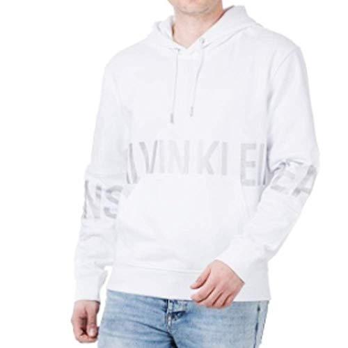 Calvin Klein Blocking Logo Hoodie Suéter, Blanco Brillante, XL para Hombre