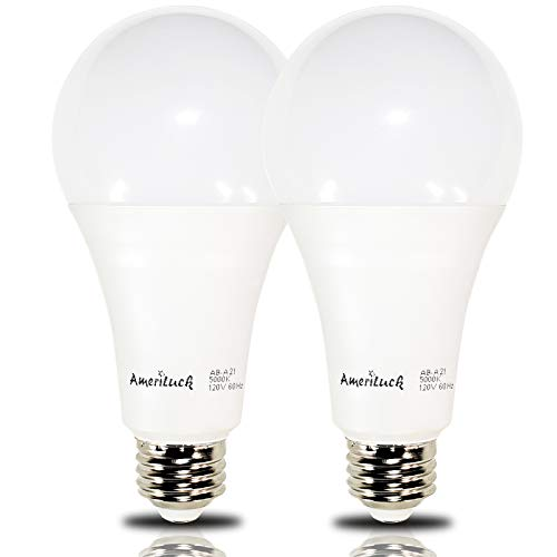 AmeriLuck 150W Equiv. A21 LED Light Bulb, 2200Lumens 20W Non-Dimmable 5000K Daylight (2 Pack)