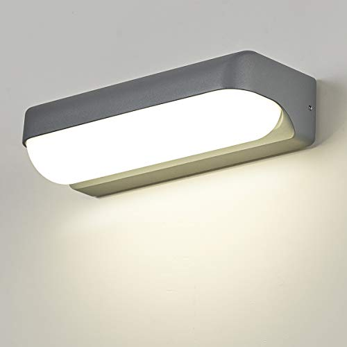 Dr.lazy 12W LED lámpara de pared LED impermeable IP65 moderno Focos de pared aluminio apliques Bañadores de pared Apliques de exterior/Interior Blanco Neutra 4000K (Gris/Blanco Neutra)