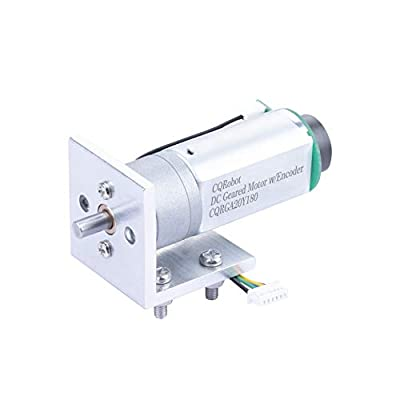 CQRobot 11.7:1 Metal Gearmotor 20Dx57.4L mm 12V with 48 CPR Encoder, with Mounting Bracket. 535 RPM/0.89 kg.cm (12.3 oz.in), D-Shaped Output Shaft 4 mm Diameter and Gearbox Panel Extends 11 mm.