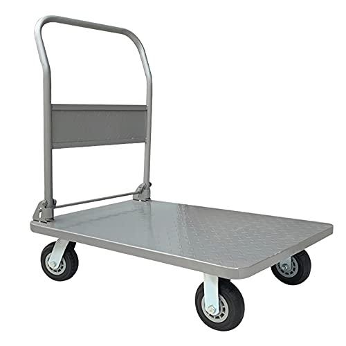 Carrello piattaforma Camion della piattaforma dell'acciaio del carrello portatile piano con impugnatura pieghevole e ruote girevoli per tirare le merci bagagli capacità di carico pesante Pieghevole