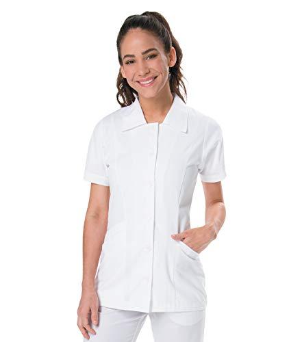 Landau Women's Student White Tailored 2 Pocket Collared Scrub Jacket, Medium
