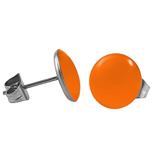 Mein-Ohrstecker Chirurgenstahl Emaille Ohrringe Edelstahl Farbe Orange, Größe 8 mm