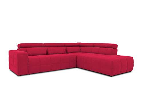 DOMO collection Brandon Ecksofa, Sofa mit Rückenfunktion in L-Form, Polsterecke, Eckgarnitur, rot, 278 x 175 x 80 cm