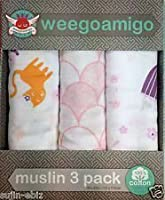 Weegoamigo Three Pack Baby Muslin Swaddle Blanket - Pink by Weegoamigo
