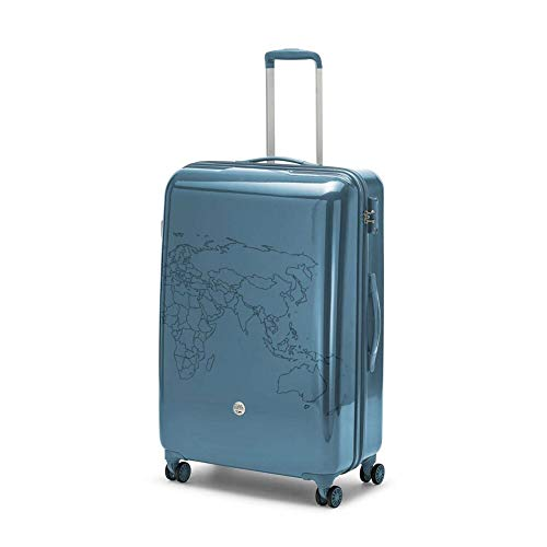 Ciak Roncato Trolley Rigido Grande, Valigia da Viaggi Lunghi 53 x 78 x 30 cm, Serie TO DO II con Decorazione a Mappa, Colore Blu Avio