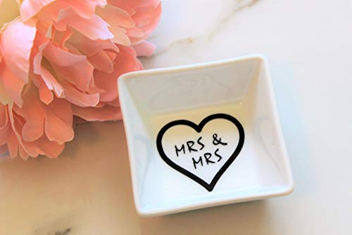 Mrs and Mrs Lesbian Gift for Couple Wedding Engagement Anniversary Ring Dish