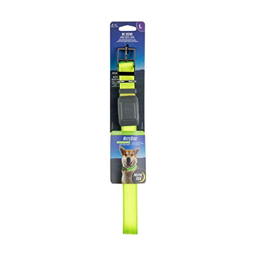 Nite Ize NiteDog Rechargeable LED Collar, USB Rechargeable Light Up Dog Collar w/Metal Buckle, Water Resistant, Large, Lime