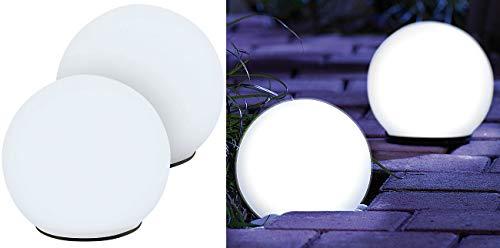 Lunartec Solarlampen Garten: 2er-Set Solar-Glas-Leuchtkugel mit LEDs & Dämmerungsautomatik, Ø 9 cm (Leuchtkugeln)