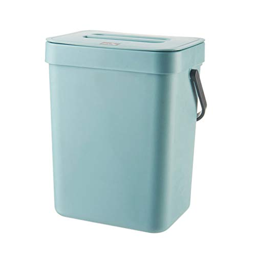 XIANGBEI - Cubo de basura de plástico para colgar en la pared, con tapa para oficina, cocina, dormitorio