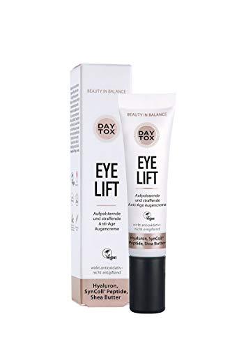 DAYTOX - Eye Lift - Belebende Augencreme mit Hyaluron - Vegan, ohne Farbstoffe, silikonfrei und parabenfrei - 15 ml