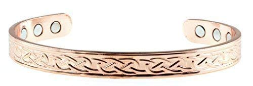 Copper Bracelet For Arthritis; Magnetic Bio Therapy (6 Embedded into internal face); Beautiful Traditional Celtic Design; Commonly worn for Pain Relief and Magnetic Healing