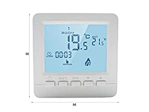 LEDLUX LL0250 Termostato Digitale Con Tasti Programmabile Per Caldaia A Gas Murale Da Parete Alimentato Con 2 Pile AA (86X86X29mm)