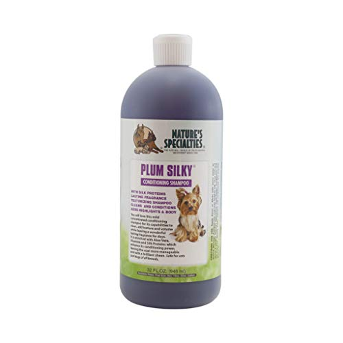 Nature's Specialties Plum Silky Pet Shampoo for Dogs and Cats, Professional Groomers, Concentrate, 32oz