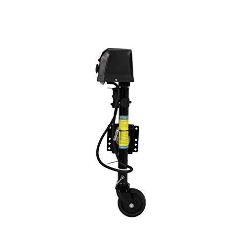 SEACHOICE 52041 Electric Jack with Caster and 7-Way Connector – Max Load 1,500 Pounds – 6 Inch Wheel Size – 10 Inches of Travel – Black, One Size