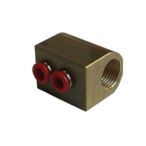 HoWaTech 2-fach Verteiler mit 1/2' Innengewinde | Anschlüsse für 8 mm Wasser Fußbodenheizung