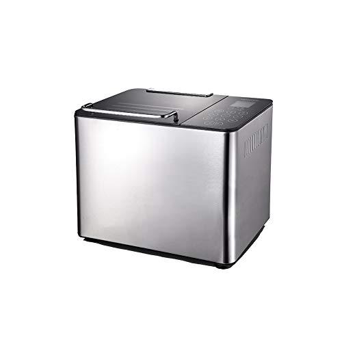 Automatischer Brotbackautomat, automatisches Verteilen, LCE-Touchscreen, 20 Programme, 15-Stunden-Reservierungsfunktion, leicht zu reinigen, intelligenter schneller Brotbackautomat, Silber,Brotbacka
