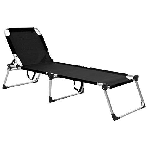 pedkit Klappbare Senioren-Sonnenliege Extra Hohe Gartenliege Klappliege Relaxliege Strandliege Freizeitliege Campingbett Schwarz Aluminium 210 x 70 x 50 cm