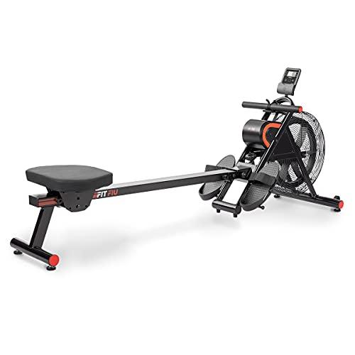 Fitfiu Fitness RA-200 - Máquina de Remo Plegable, con Resistencia de Aire para sesiones de Cardio y Cross Training en casa, Negro y Rojo, 50x80x195cm
