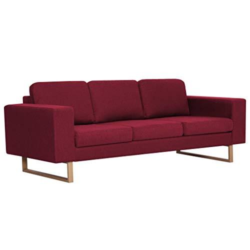 Canapé d'angle 3 places Rouge Tissu Moderne Confort