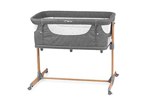 MOMI SMART BED Cama multifuncional y parque infantil 4 en 1, para niños de hasta 15 kg de peso, 55 x 95 cm, altura regulable en 5 niveles, con colchón, correas de sujeción, mosquitera y ruedas