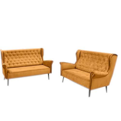 MOEBLO Polstergarnitur Ohrensofa 3 Sitzer 2 Sitzer Sofa Couch Garnitur Stoff Samt (Velour) Glamour Wohnlandschaft Chesterfield - Velo (Gold)