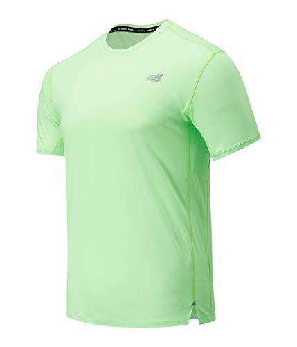 New Balance Impact Run Short Sleeve Camiseta, Azul, L Hombre