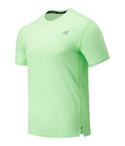 New Balance Impact Run Short Sleeve Camiseta, Azul, L Hombre