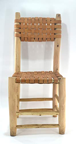 Handmade Moroccan craft dining chair from braided genuine calf leather and natural laurel wood - Seat W40 L40 H 43 Back 90 cm
