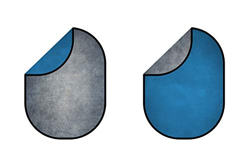 KateHome PHOTOSTUDIOS 5×7ft(1,5×2m) Falthintergrund Microfiber Blau Hintergrund/Grau Fotohintergrund Faltbarer Hintergrund