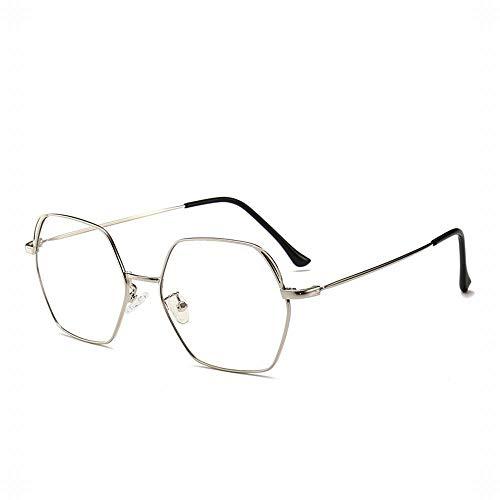 BXGZXYQ Sechseckige Metall Brillengestell Mode Katze Ohr Flache Galsses für Frauen/Männer Sonnenfinsternisse Gläser Unisex Gläser (Farbe : Silver)
