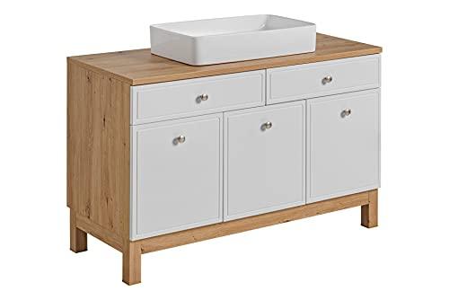 Mobile da lavabo Samoa 120 cm, colore: bianco/rovere, mobile da bagno con gambe, mobile da bagno bianco con maniglie cromate