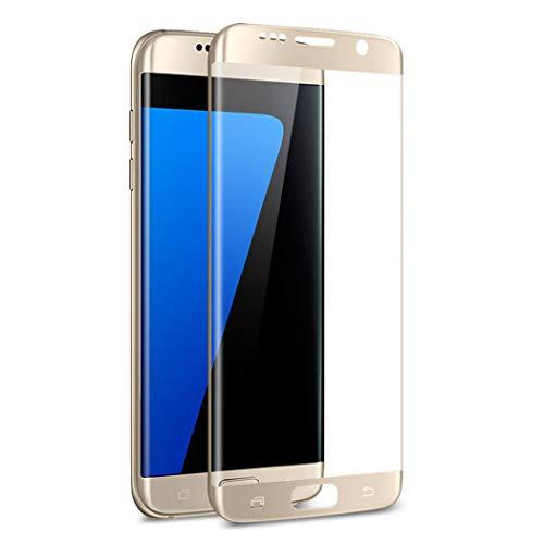 J&H [Pacote com 2] Película de vidro temperado para Samsung Galaxy S7 Edge – Protetor de tela transparente com cobertura total para Samsung Galaxy S7 Edge (Dourado)