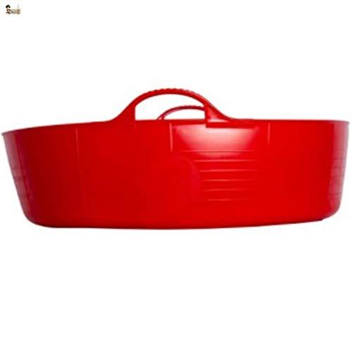 BricoLoco Cubo cesto capazo espuerta barreño ¡¡¡ MIL USOS !!!. Flexible con asas. Ropa, colada, pienso perros, macetero, juguetes, bañera mascotas, leña. (57x16 cm. 35 lts., Rojo)