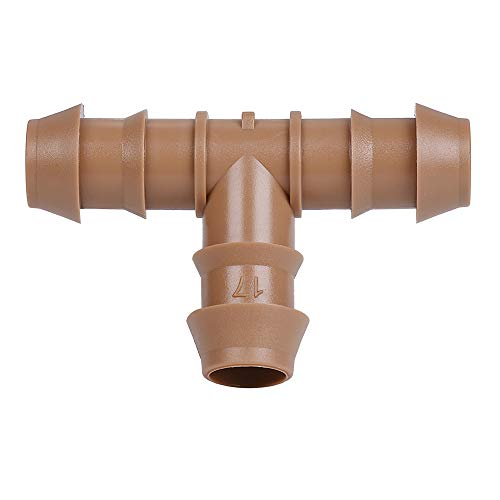 """iRunning 18 Pieces Irrigation Tee Fittings (17mm) for 1/2"""" Tubing (0.600""""ID) – Barbed Connectors for Sprinkler and Drip Irrigation Systems"""