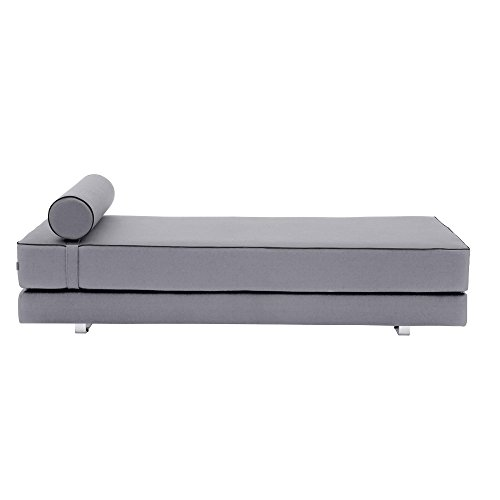 Lubi Schlafsofa/Day Bed, grau Stoff Filz 620 BxHxT 203x65x82cm mit Kaltschaummatratze inkl. Nackenrolle