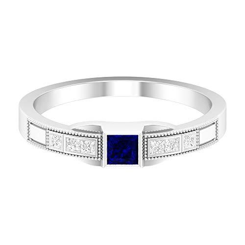 Anillo solitario de zafiro azul de 1/2 quilates, anillo de diamante HI-SI, anillo de compromiso de corte princesa de 3 x 3 mm, anillo grabado en oro, 14K White Gold, Blue Sapphire, Size:US 44