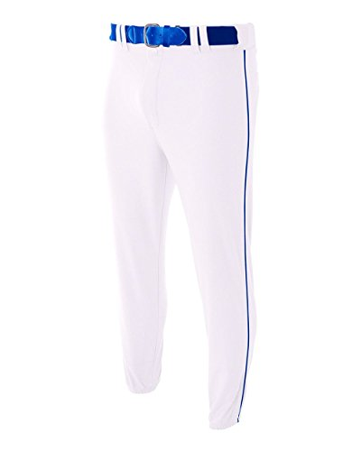 A4 Sportswear Adult 3XL White with Royal Side Piping Baseball/Softball Baggy Pants