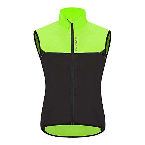 WOSAWE Fahrradweste Herren Damen Reflektierend Atmungsaktiv Laufweste ärmellos Windweste Jacke (Schwarz XXL)