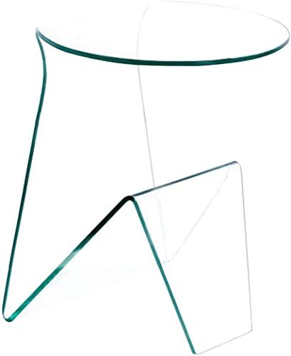 Tavolino Tondo da Caffè Con Vano Porta Riviste in Vetro Temperato Tavolo Basso Salotto Ufficio Soggiorno Sala Camera Design Curvo Moderno Elegante Minimal Luxury Z-34, 46 x 40 x 55 Cm Trasparente